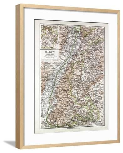 Map of Baden Germany 1899--Framed Art Print