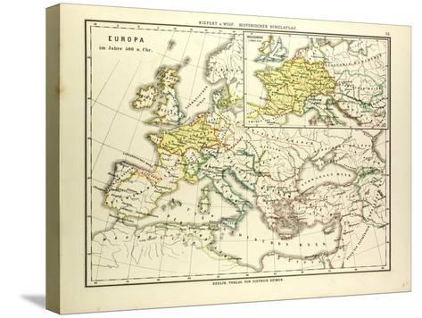 Map of Europe in 500 A.D--Stretched Canvas Print
