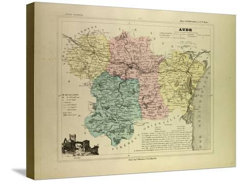 Map of Aude France--Stretched Canvas Print