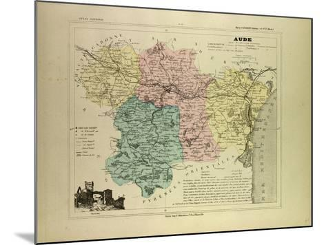 Map of Aude France--Mounted Giclee Print