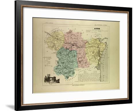 Map of Aude France--Framed Art Print