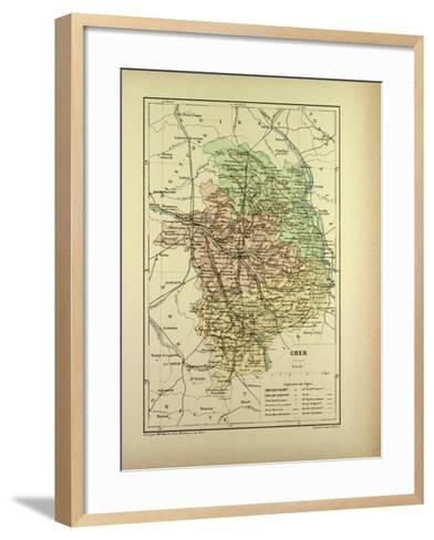 Map of Cher France--Framed Art Print
