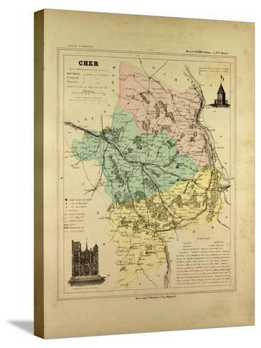 Map of Cher France--Stretched Canvas Print