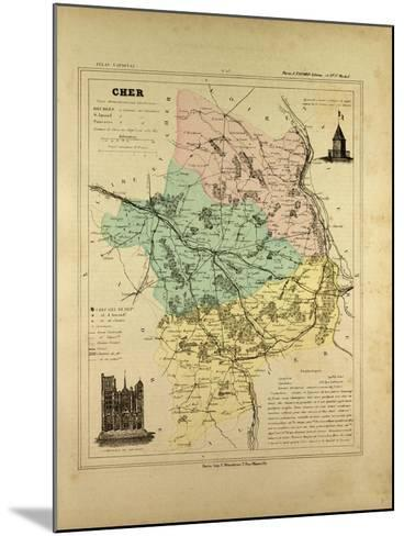 Map of Cher France--Mounted Giclee Print