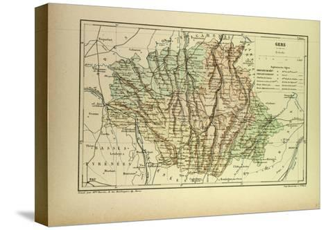 Map of Gers France--Stretched Canvas Print