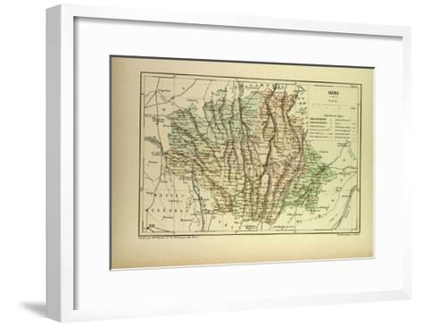 Map of Gers France--Framed Art Print