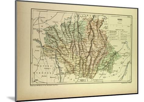 Map of Gers France--Mounted Giclee Print