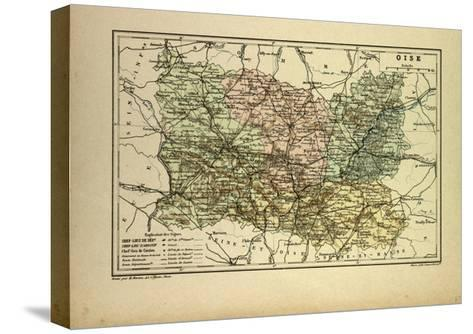 Map of Oise France--Stretched Canvas Print