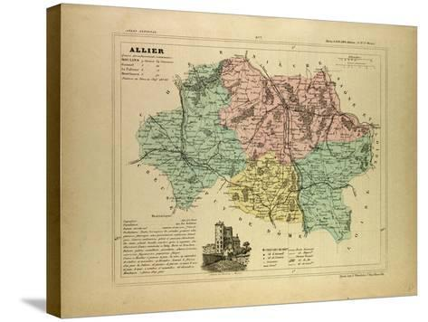 Map of Allier France--Stretched Canvas Print