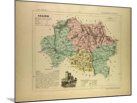 Map of Allier France--Mounted Giclee Print