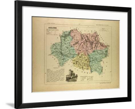Map of Allier France--Framed Art Print