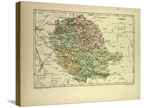 Map of Tarn France--Stretched Canvas Print