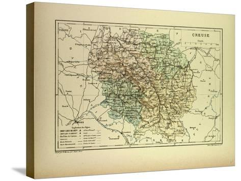 Map of Creuse France--Stretched Canvas Print