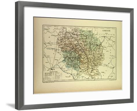 Map of Creuse France--Framed Art Print