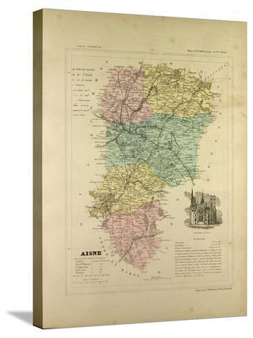 Map of Aisne France--Stretched Canvas Print