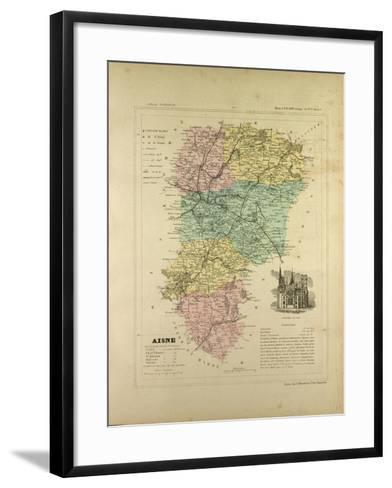 Map of Aisne France--Framed Art Print
