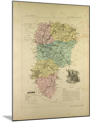 Map of Aisne France--Mounted Giclee Print