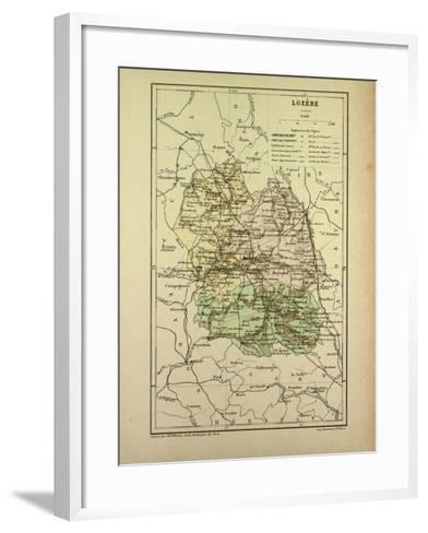 Map of Lozère France--Framed Art Print
