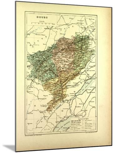 Map of Doubs France--Mounted Giclee Print