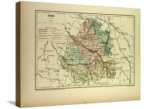 Map of Indre France--Stretched Canvas Print
