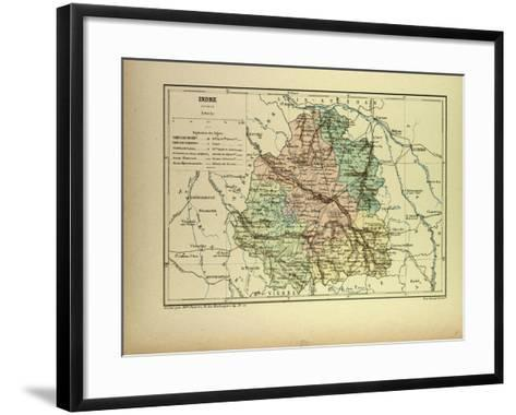 Map of Indre France--Framed Art Print