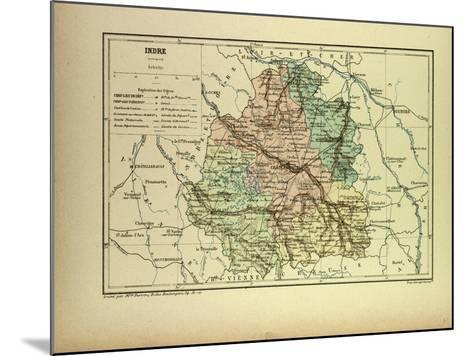 Map of Indre France--Mounted Giclee Print