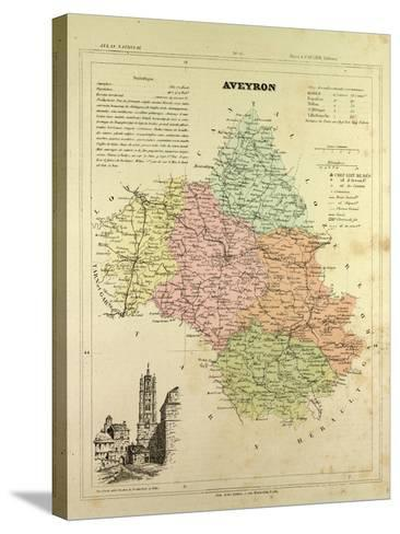 Map of Aveyron France--Stretched Canvas Print