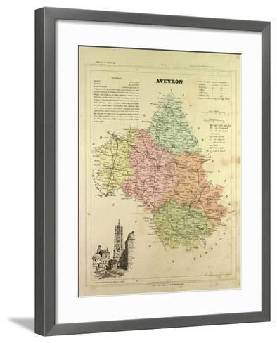 Map of Aveyron France--Framed Art Print