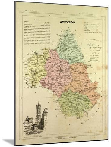 Map of Aveyron France--Mounted Giclee Print