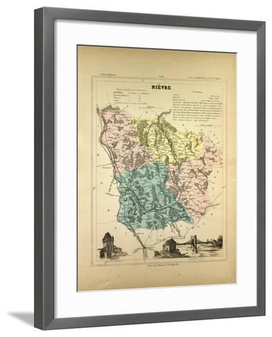 Map of Nièvre France--Framed Art Print