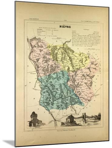 Map of Nièvre France--Mounted Giclee Print