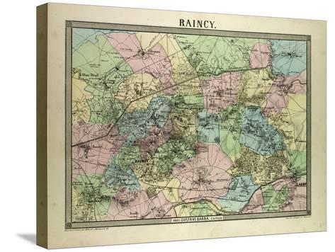 Map of Raincy France--Stretched Canvas Print