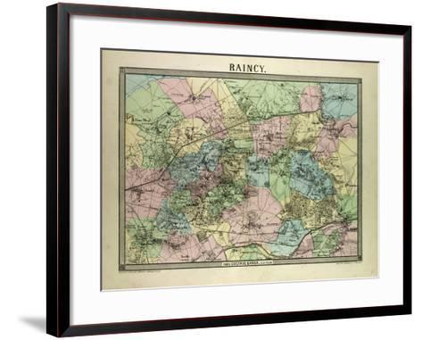 Map of Raincy France--Framed Art Print