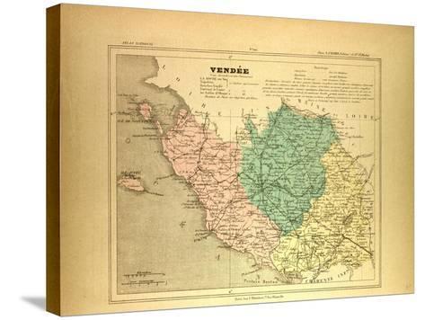 Map of Vendée France--Stretched Canvas Print