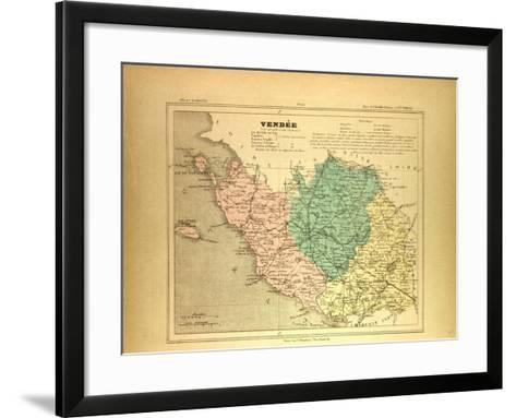 Map of Vendée France--Framed Art Print