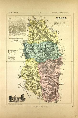 Map of Meuse France--Stretched Canvas Print