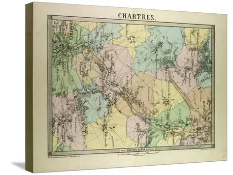 Map of Chartres France--Stretched Canvas Print