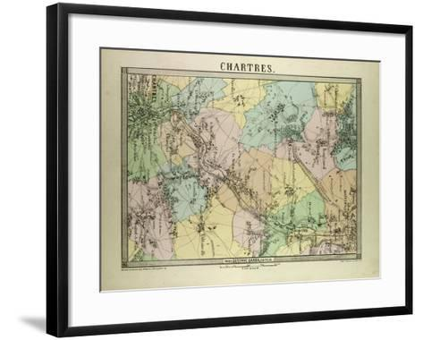 Map of Chartres France--Framed Art Print