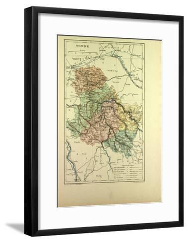 Map of Yonne France--Framed Art Print