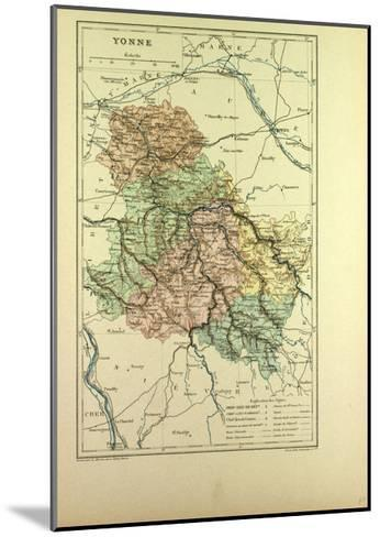 Map of Yonne France--Mounted Giclee Print
