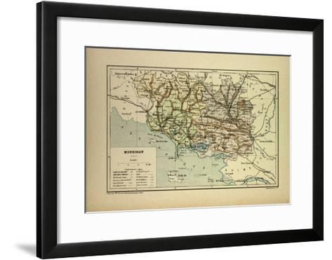 Map of Morbihan France--Framed Art Print