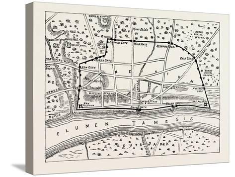 Plan of Roman London--Stretched Canvas Print