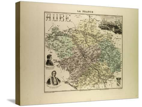 Map of Aube 1896, France--Stretched Canvas Print