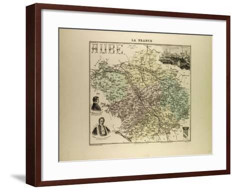 Map of Aube 1896, France--Framed Art Print