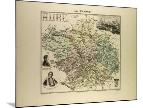 Map of Aube 1896, France--Mounted Giclee Print