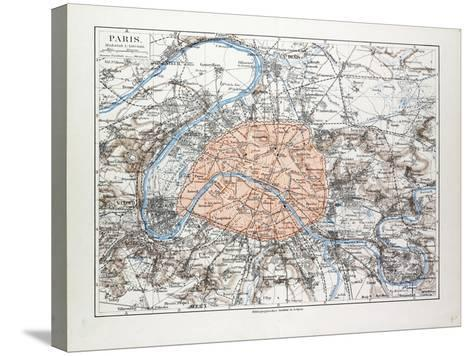 Map of Paris France 1899--Stretched Canvas Print