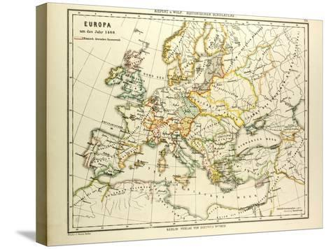 Map of Europe in 1400--Stretched Canvas Print