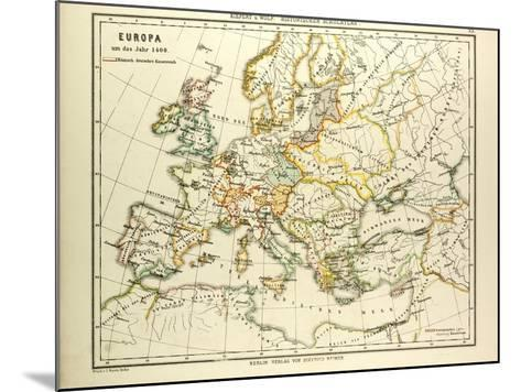Map of Europe in 1400--Mounted Giclee Print