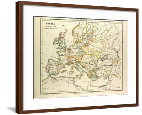 Map of Europe in 1400--Framed Art Print