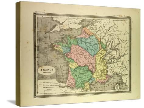 Map of France--Stretched Canvas Print